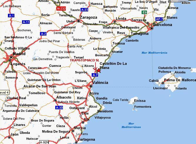 Provincia De Castellón Mapa.Trans Tomaco